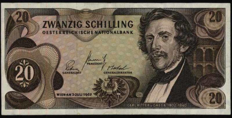 Geldschein Credit Note Banknote Österreich Austria 20 Sch. 142 a 1967 I-II.