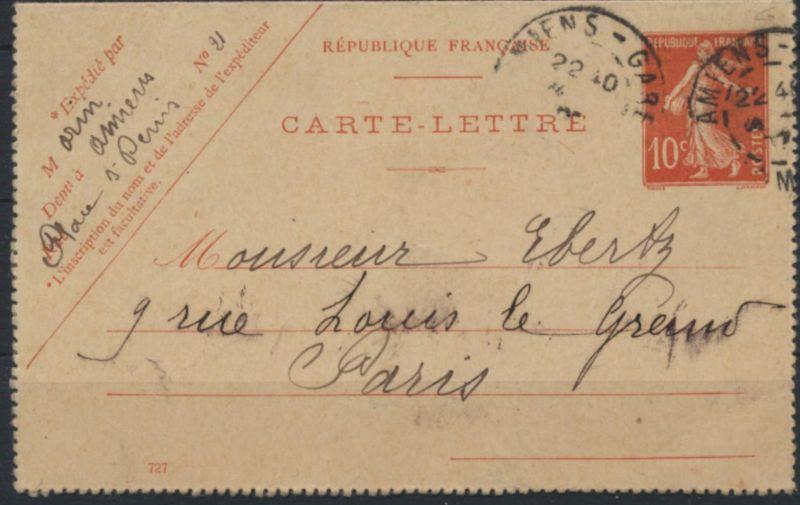 Frankreich Ganzsache Kartenbrief K 33 b 10c rot 1907