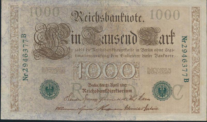 Geldschein Banknote Deutsches Reich 1000 Mark Ro46 b II 1919