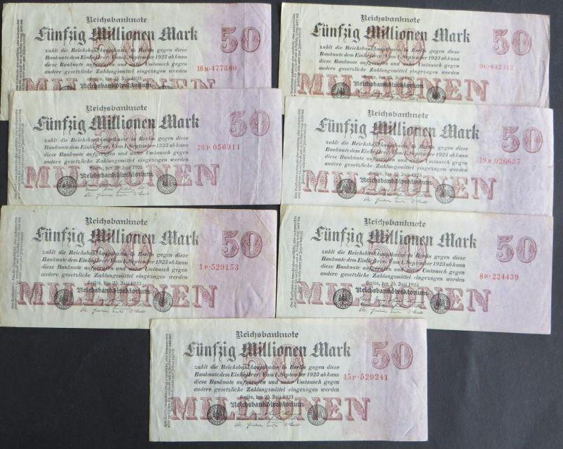 7x Geldscheine Banknoten Deutsches Reich 50 Millionen Mark Ro: 97b 25.07.1923