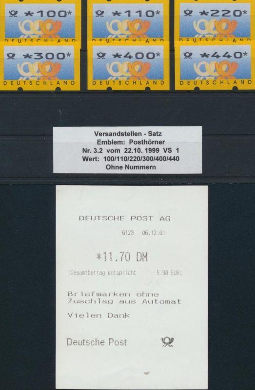 Bund ATM 3.2  Versandstellensatz VS 1 - Postemblem Luxus postfrisch MNH