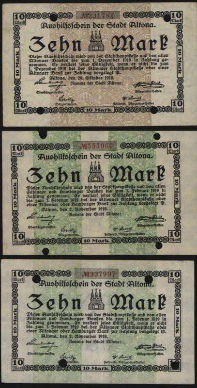 Geldschein Banknote Notgeld Altona 3 Stück 10 Mark 3, 6 + 7 fast kfr. 1918/19