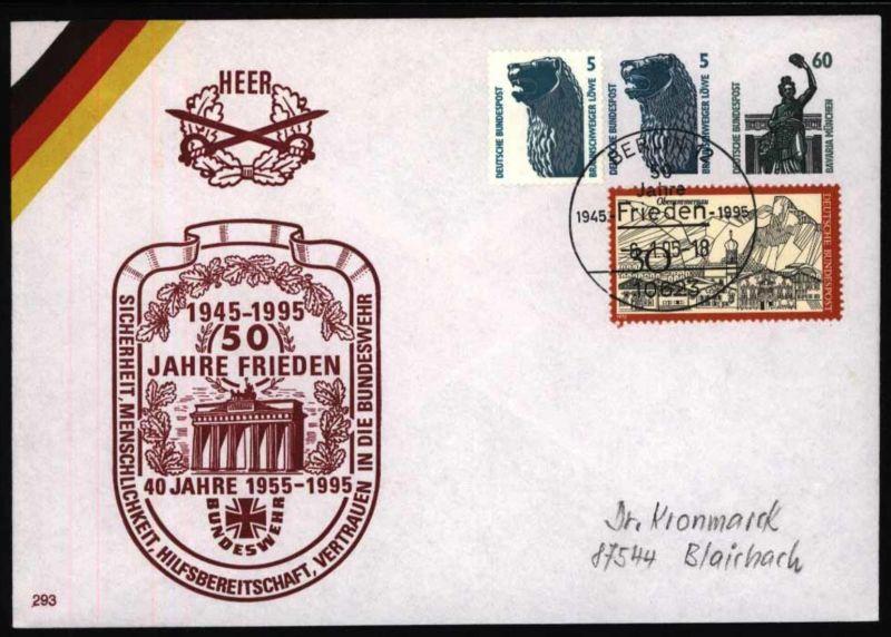 Bund Privat Ganzsache 2 WST Motiv Frieden + Brandenburger Tor SST Berlin 1995
