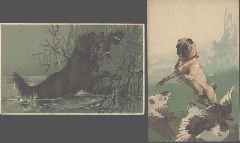 Ansichtskarte Jagd zwei tolle Prägekarten Hunde Tiere 1x Künstler sign. AF