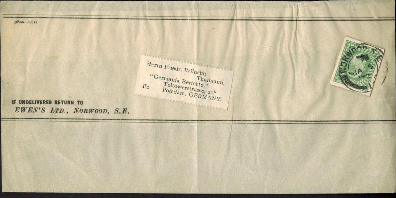 Großbritannien King Eduard, Ganzsachenausschnitt 1/2p Streifband-Einzelfrankatur