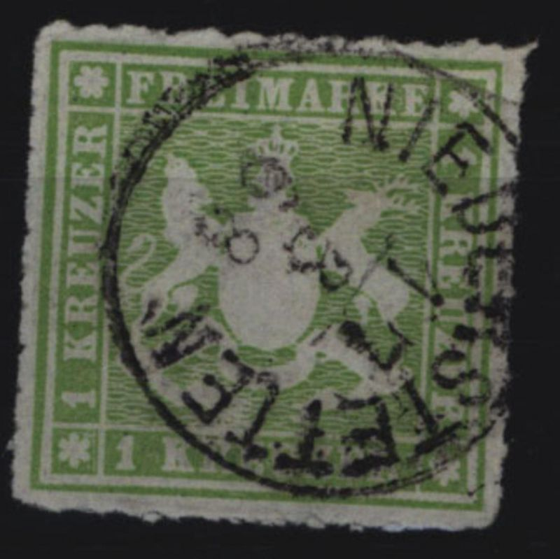 Württemberg 30 Wappen 1 Kreuzer 1865 seltener Stempel NIEDERSTETTEN 17.3.68