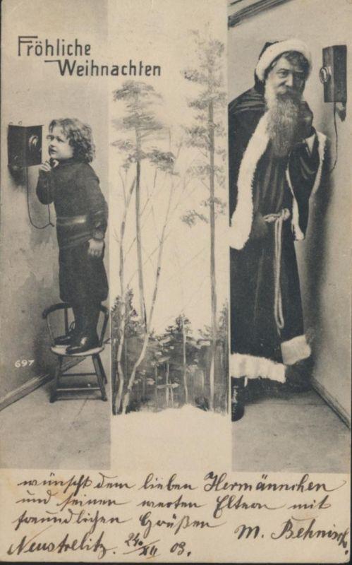 Ansichtskarte Nikolaus Weihnachten Telefon Kind ruft Weihnachtsmann Neustrelitz