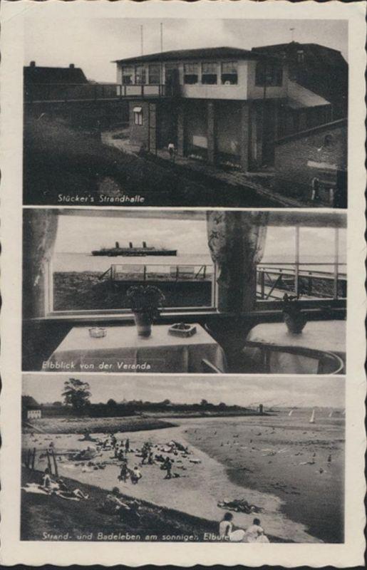 Ansichtskarte Brokdorf a.d. Elbe Strandhalle Stücker Innenansicht Elbeufer