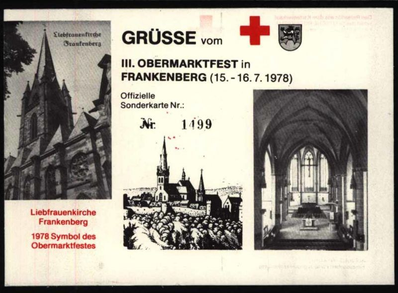 Ansichtskarte Ereignisskarte Frankenberg Obermarktfest Rotes Kreuz Kirche 1978