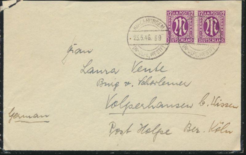 Brief Bizone AM-Post MEF 7 za b Paar Kirchundem nach Volpershausen