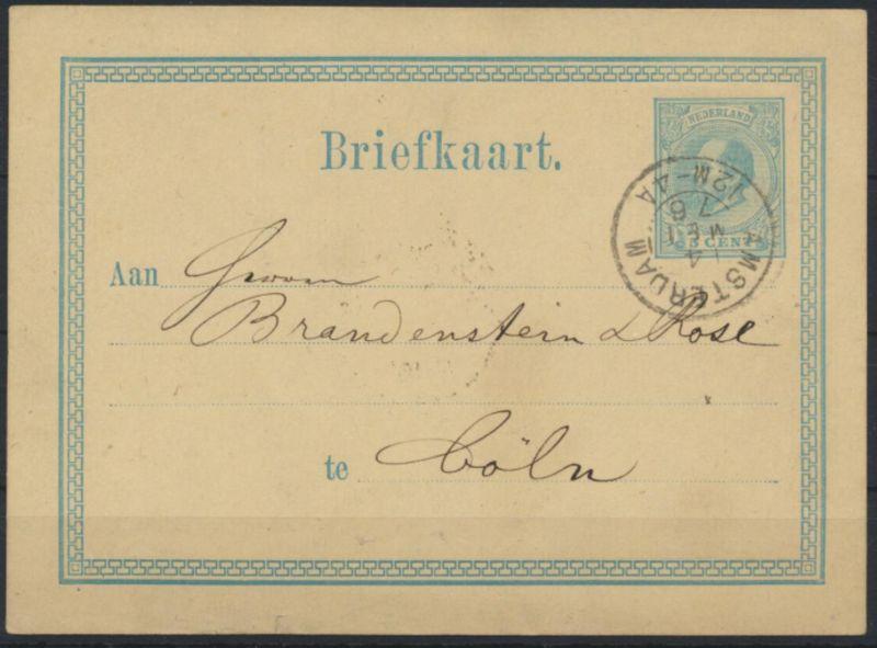 Niederlande Ganzsache P 4 II von Amsterdam nach Köln 4.5.1876