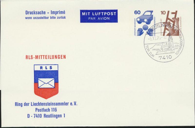 Bund Privatganzsache WST Unfall 60/10 Flugpost Reutlingen Liechtensteinsammler