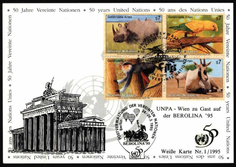 UNO Karte Motiv Brandenburger Tor ballon  UNPA Berolina SST Berlin 1995