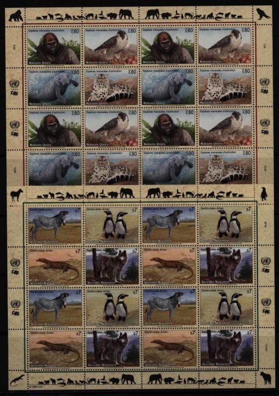 UNO Kleinbogensatz Gefährdete Arten (I) 1993 alle drei Gebiete postfrisch **