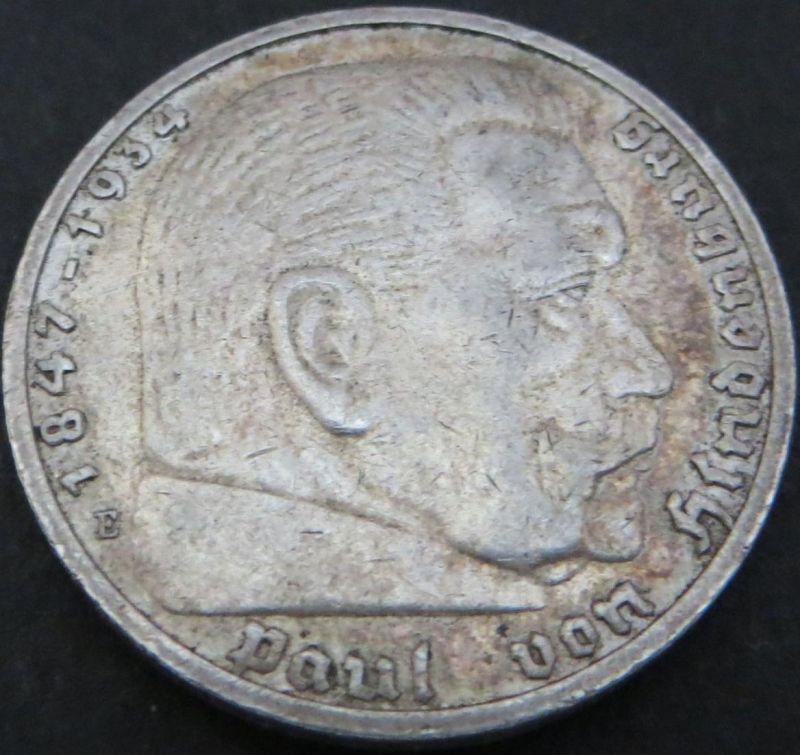 Silbermünze Deutsches Reich 5 Reichsmark Paul von Hindenburg 1936E ss Jäger 360