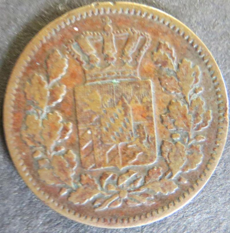 Münze Bayern 1862 -  2 Pfenning Scheidemünze Gekrönter Schild ss