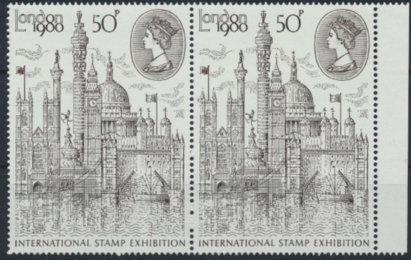 Großbritannien Paar Seitenrand International Stamp Exhibition London 1980 **