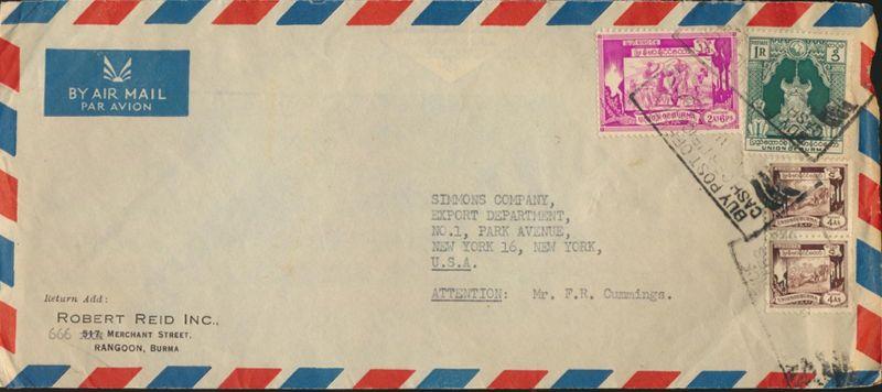 Burma Myanmar Brief Flugpost MIF 108+111 Paar+113 Rangoon nach New York