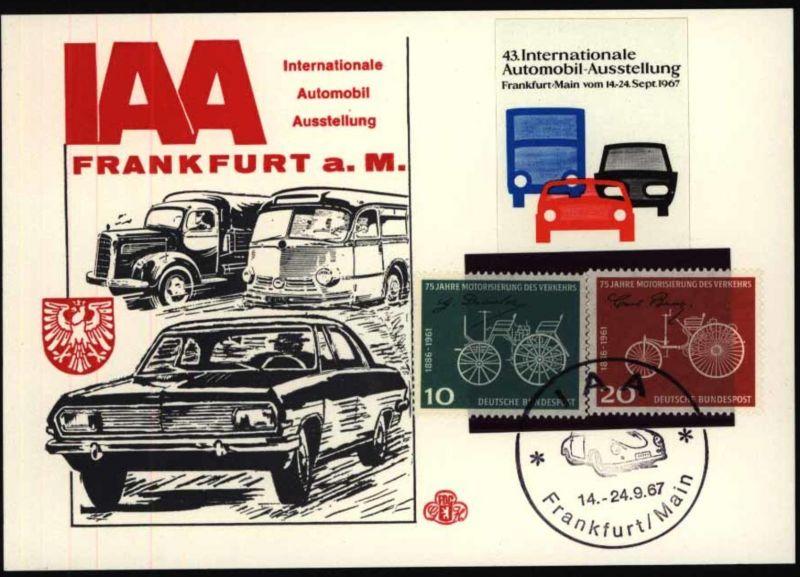 Auto Sonderkarte Frankfurt Automobil - Ausstellung IAA mit entspr. SST 1967