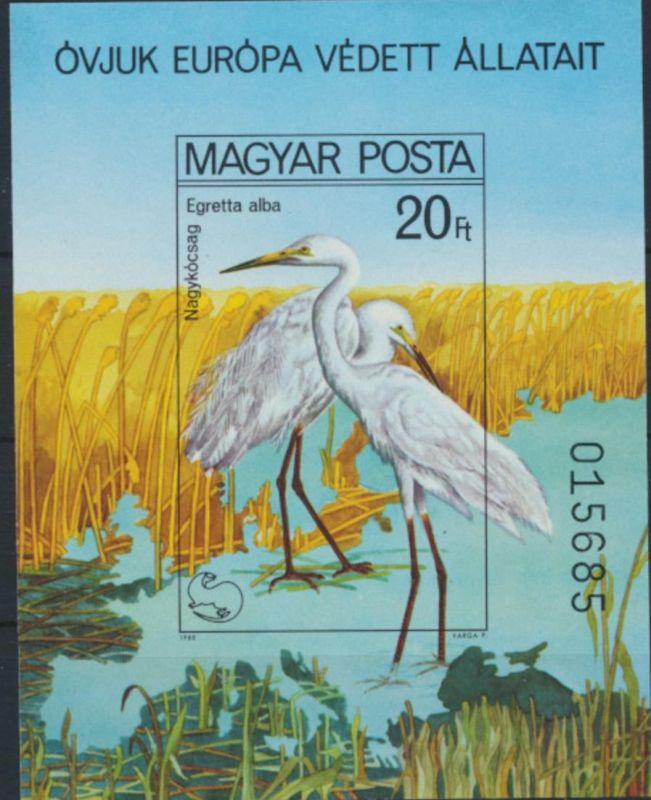 Ungarn Block 146 B** - Vögel  Europäische Naturschutzkampagne Silberreiher