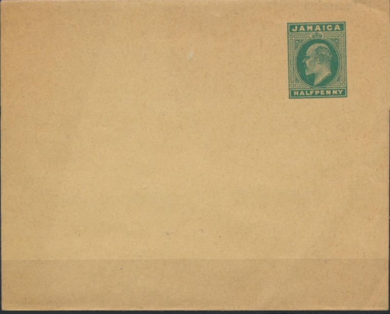 Jamaika Ganzsache Streifband ST 2 1/2p grün King Edward Britische Kolonien