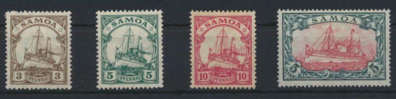 Dt. Kolonien Samoa 20-23 A Kaiseraycht ungebraucht 10 Pfg.+ 5 Mark ohne Gummi