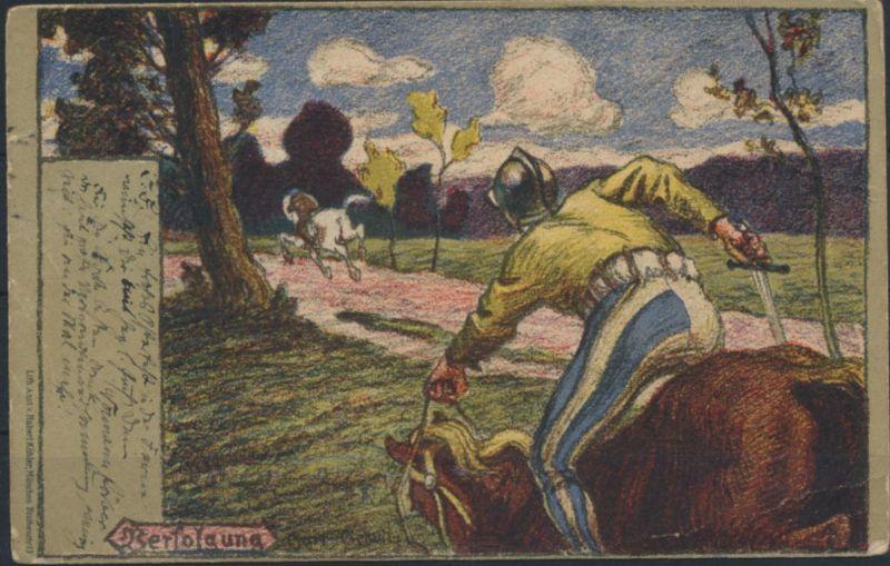 Ansichtskarte Jugendstil Künstlerkarte sign. W.G. Verfolgung Lithoanstalt Köhler