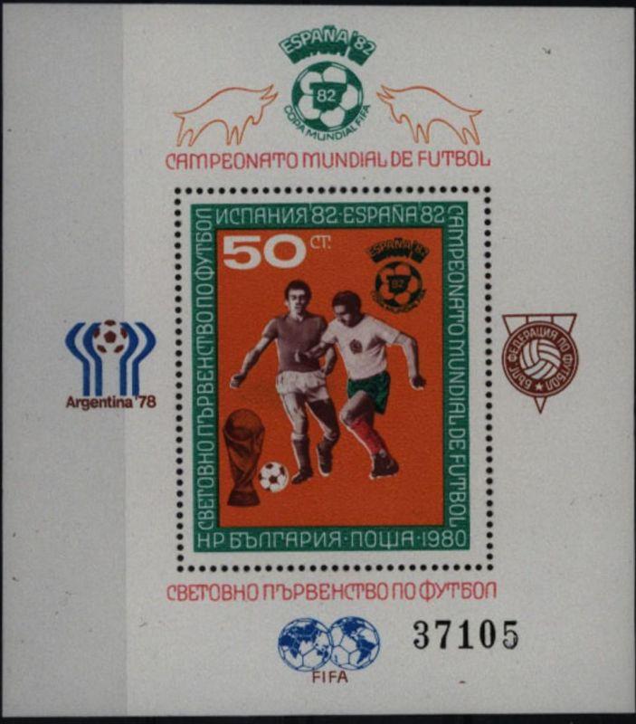 Bulgarien Block 104 FIFA Fußball-Weltmeisterschaft WM 1982 postfrisch ** MNH