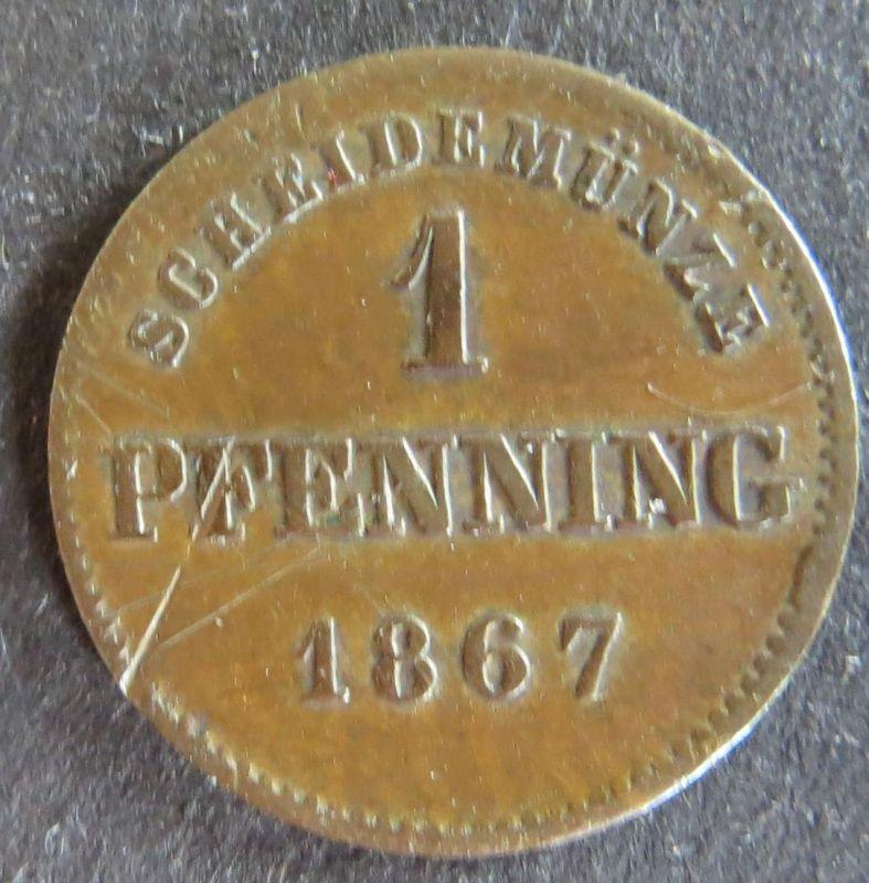 Münze Bayern 1867  - 2 Pfenning Scheidemünze Gekrönter Schild Kupfer ss