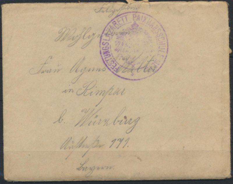 Brief Feldpost Stempel Festungslazarett Paixhansschule Metz kompl. + 2-teiligen