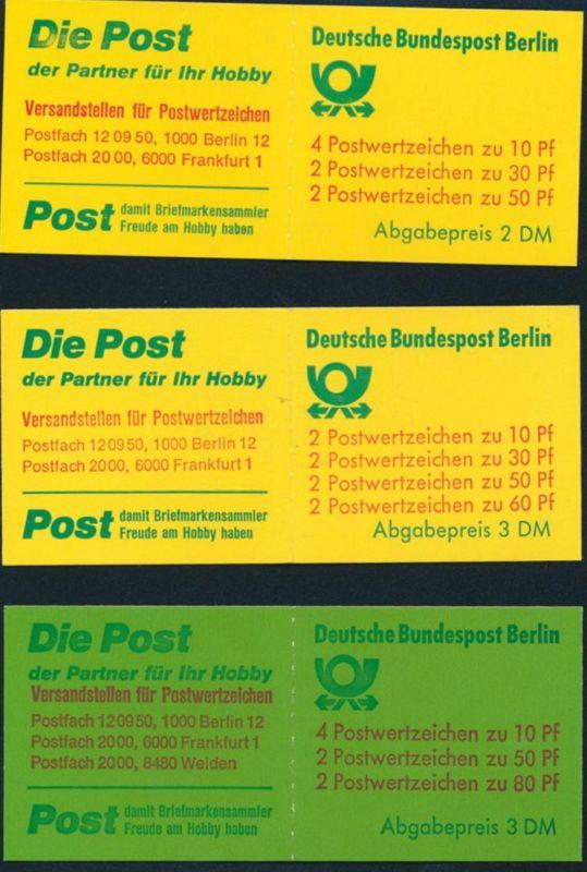 Markenheftchen Berlin MHB 11a 12a 13a Burgen und Schlösser postfrisch