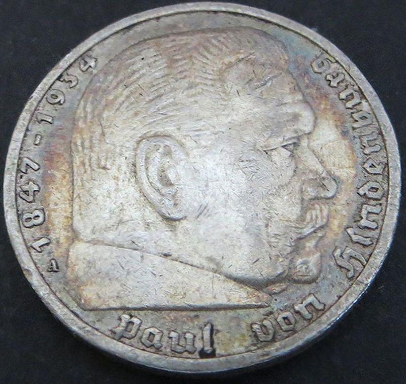 Silbermünze Deutsches Reich 5 Reichsmark Paul von Hindenburg 1935A ss Jäger 360