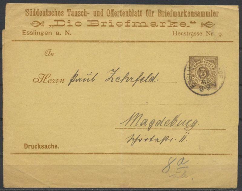 Württemberg Privatganzsache Streifband Umschlag Briefmarkensammler Esslingen