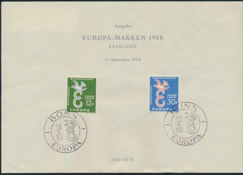 CEPT Amtliches Sonderblatt Bundespost Saarland 1958