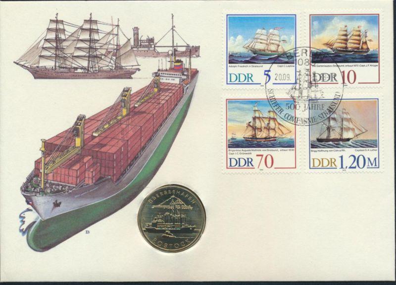 DDR Numisbrief Überseehafen Rostock 500 Jahre Schiffer Companie Stralsund 1988