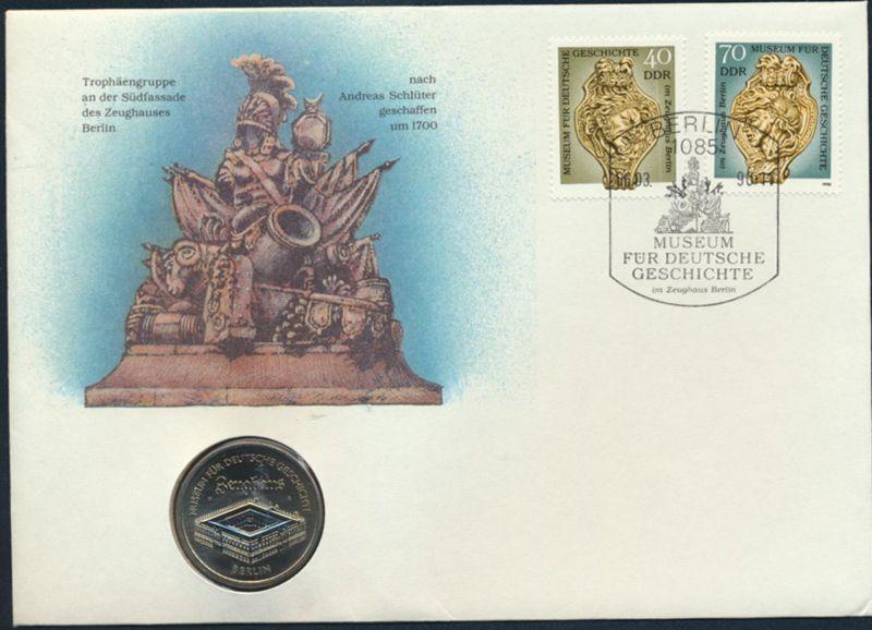 DDR Numisbrief Andreas Schlüter Museum für Geschichte Zeughaus1990 mit 5M-Münze