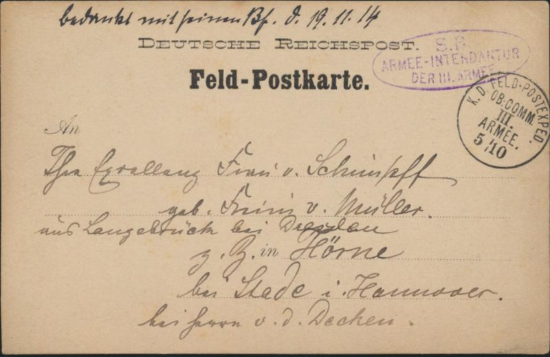 D. Reich Feldpost Bethemville viol Oval-Stempel S.B. Intendantur Hörne bei Stade