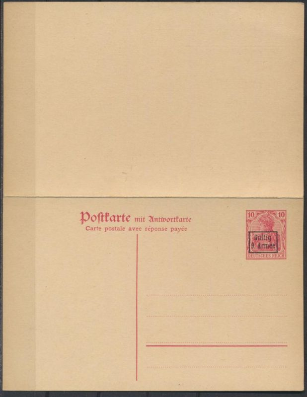 Besetzung 1914-18 Etappengebiet 9. Armee Ganzsache P 2 F/A Kat.-Wert 19,00