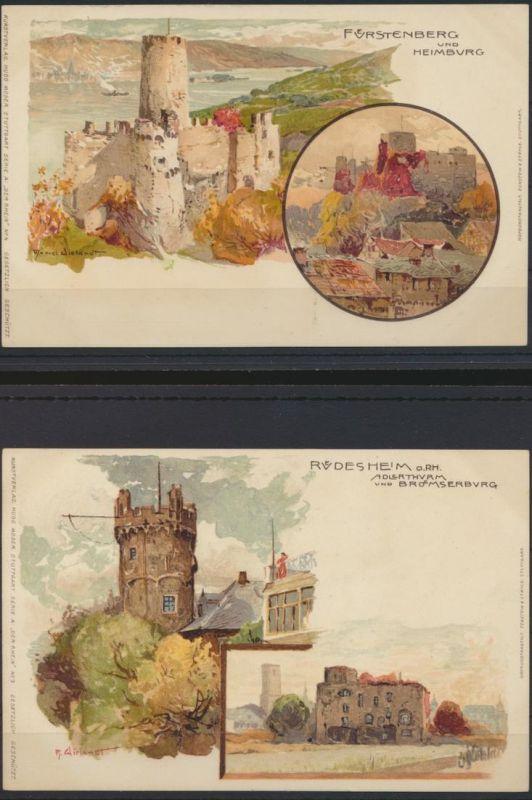 4 Litho Künstler Ansichtskarten Verlag Hugo Moser Stuttgart Manuel Wielandt