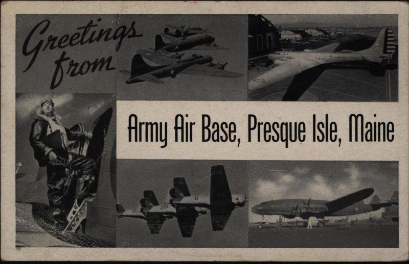 Ansichtskarte Militaria II WK USA Army Air Base Presque Isle Maine 1943 0