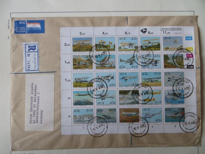 Südafrika Flugpost Zusammendruckbogen sehr selten auf R-Brief Vlaeberg Weissenau