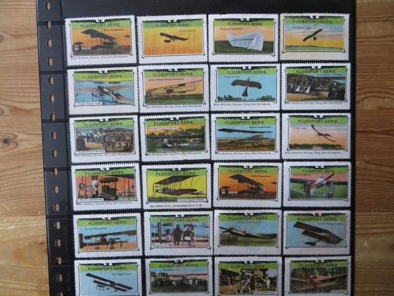 Flugpost u Zeppelin Vignetten Sammlung aus der selt. Jugendstil-Serie Flugsport