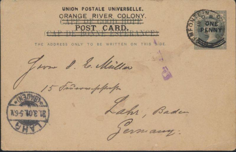 Orangefreistaat Orange River Kolonie Ganzsache postalstationary 39 a n. Lahr