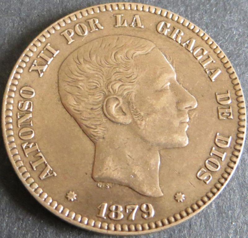 Münze Spanien Alfonso XII 10 Centimos 1879 unz. Schön: 162