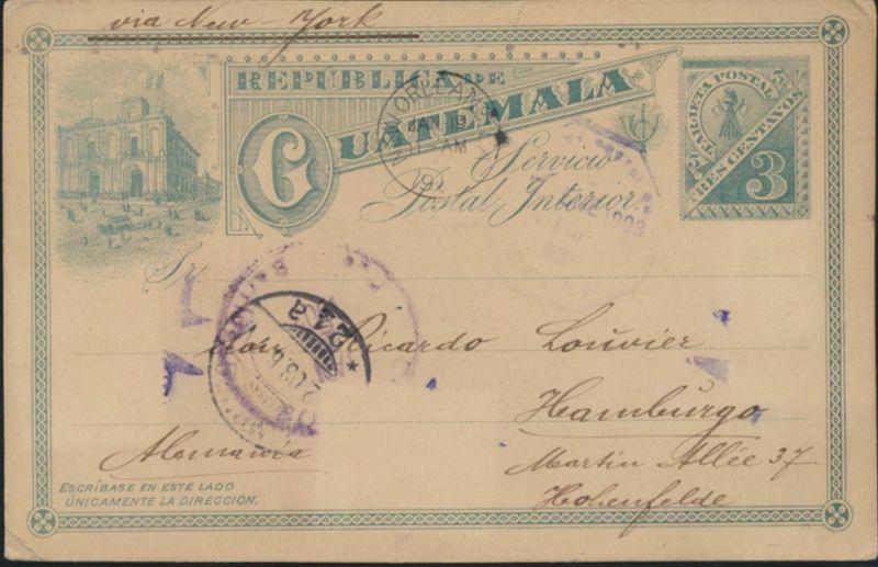 Guatemala Ganzsache 3c green Ansicht via New Orleans Hamburg postal stationary