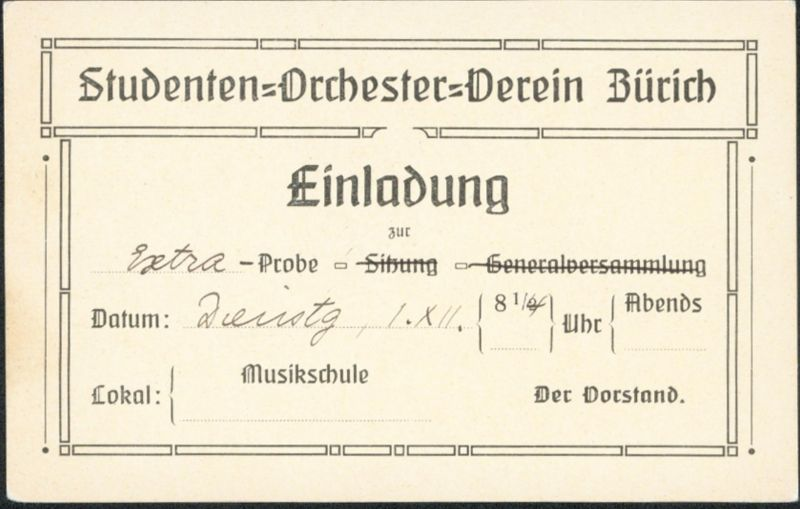 Schweiz Privat Ganzsache Musik Studentika Studenten Einladung Orchester Zürich