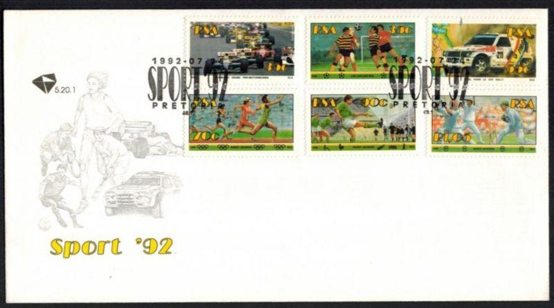 Südafrika Brief 839-844 Sport mit Marken Fußball Autorennen Africa letter sports