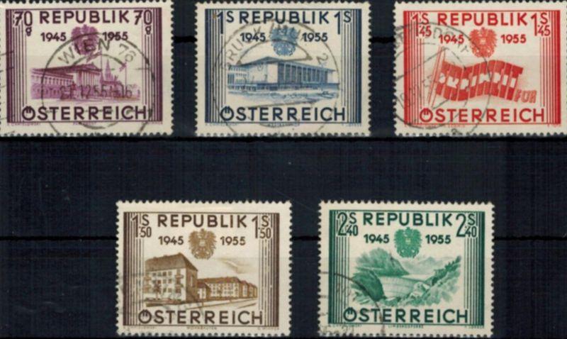 Österreich 1012-1016 gestempelt Unabhängikeit 1955 komplett