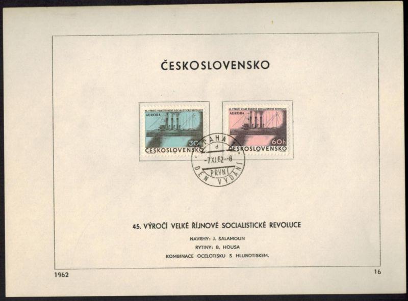 CSSR Tschechoslowakei 1364 + 1366 Sonderblatt mit Ersttagsstempel 1962 - Nr. 16