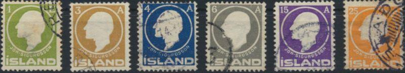 Island 63-68 gestempelt Freimarken 100. Geburtstag von Jon Sigurdsson 1911
